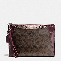 COACH F54628 - MORGAN CLUTCH 24 IN SIGNATURE WITH EXOTIC MIX TRIM BLACK ANTIQUE NICKEL/OXBLOOD