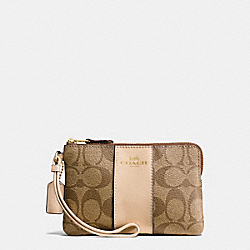 COACH F54629 Corner Zip Wristlet In Signature Coated Canvas With Leather Stripe IMITATION GOLD/KHAKI PLATINUM