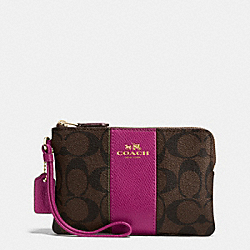 COACH F54629 Corner Zip Wristlet In Signature Coated Canvas With Leather Stripe IMITATION GOLD/BROWN/FUCHSIA