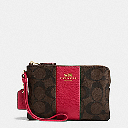 COACH F54629 Corner Zip Wristlet In Signature Coated Canvas With Leather Stripe IMITATION GOLD/BROWN TRUE RED
