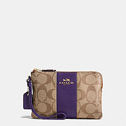 COACH F54629 Corner Zip Wristlet In Signature Coated Canvas With Leather Stripe IMITATION GOLD/KHAKI AUBERGINE