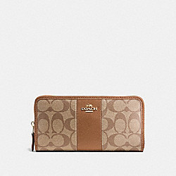 COACH F54630 Accordion Zip Wallet In Signature Coated Canvas With Leather Stripe IMITATION GOLD/KHAKI/SADDLE