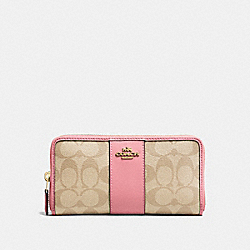 COACH F54630 Accordion Zip Wallet In Signature Canvas LIGHT KHAKI/PEONY/LIGHT GOLD