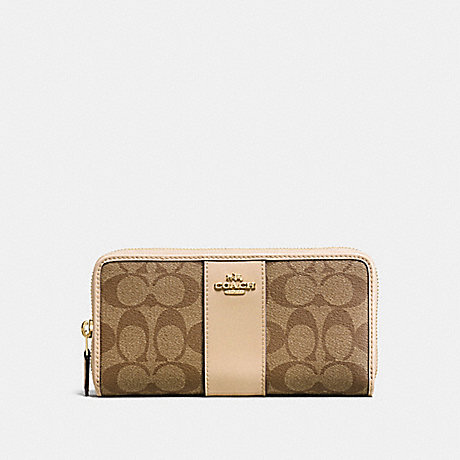 3eb505e99355 ... good coach f54630 accordion zip wallet in signature coated canvas with  leather stripe imitation gold khaki