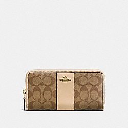 COACH F54630 Accordion Zip Wallet In Signature Coated Canvas With Leather Stripe IMITATION GOLD/KHAKI PLATINUM