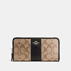 COACH F54630 Accordion Zip Wallet In Signature Canvas KHAKI/BLACK/IMITATION GOLD