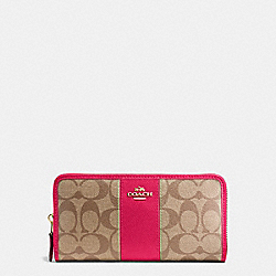 COACH F54630 Accordion Zip Wallet In Signature Coated Canvas With Leather Stripe IMITATION GOLD/KHAKI/BRIGHT PINK