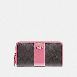 COACH F54630 Accordion Zip Wallet In Signature Canvas BROWN /PINK/LIGHT GOLD