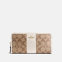 COACH F54630 Accordion Zip Wallet In Signature Canvas KHAKI/CHALK/GOLD