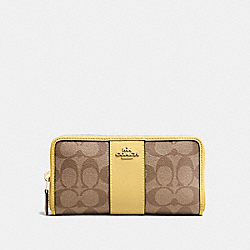 COACH F54630 - ACCORDION ZIP WALLET IN SIGNATURE CANVAS KHAKI/SUNFLOWER/GOLD