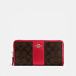 COACH F54630 Accordion Zip Wallet In Signature Coated Canvas With Leather Stripe IMITATION GOLD/BROWN TRUE RED