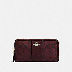 COACH F54630 - ACCORDION ZIP WALLET IN SIGNATURE CANVAS OXBLOOD 1/LIGHT GOLD