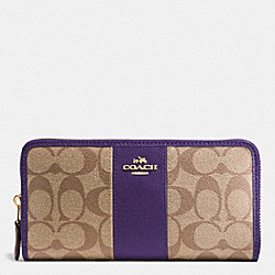 COACH F54630 Accordion Zip Wallet In Signature Coated Canvas With Leather Stripe IMITATION GOLD/KHAKI AUBERGINE