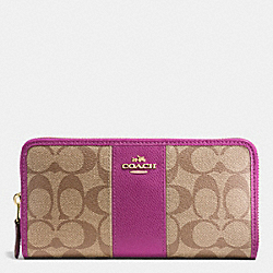 COACH F54630 Accordion Zip Wallet In Signature Coated Canvas With Leather Stripe IMITATION GOLD/KHAKI/HYACINTH