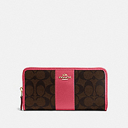 COACH F54630 Accordion Zip Wallet In Signature Canvas BROWN/STRAWBERRY/IMITATION GOLD