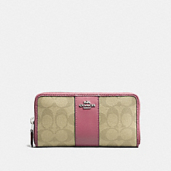 COACH F54630 Accordion Zip Wallet In Signature Canvas LIGHT KHAKI/VINTAGE PINK/IMITATION GOLD