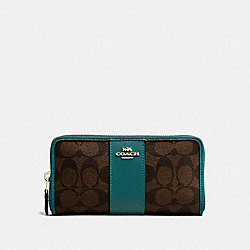 COACH F54630 Accordion Zip Wallet In Signature Canvas BROWN/DARK TURQUOISE/LIGHT GOLD