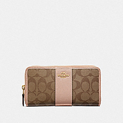 COACH F54630 Accordion Zip Wallet In Signature Canvas KHAKI/ROSE GOLD/LIGHT GOLD