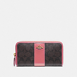 COACH F54630 Accordion Zip Wallet In Signature Canvas BROWN/PEONY/LIGHT GOLD