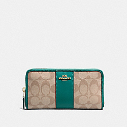 COACH F54630 Accordion Zip Wallet In Signature Canvas KHAKI/DARK TURQUOISE/LIGHT GOLD