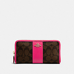 ACCORDION ZIP WALLET IN SIGNATURE CANVAS - F54630 - BROWN/NEON PINK/LIGHT GOLD