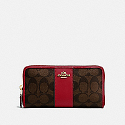 COACH F54630 Accordion Zip Wallet In Signature Canvas BROWN/RUBY/IMITATION GOLD