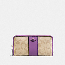 COACH F54630 Accordion Zip Wallet In Signature Canvas LIGHT KHAKI/PRIMROSE/IMITATION GOLD