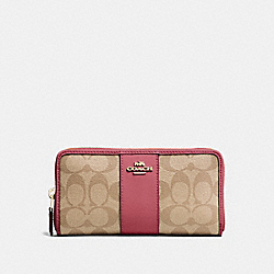 COACH F54630 Accordion Zip Wallet In Signature Canvas LIGHT KHAKI/ROUGE/GOLD