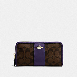 COACH F54630 - ACCORDION ZIP WALLET IN SIGNATURE CANVAS IM/BROWN DARK PURPLE