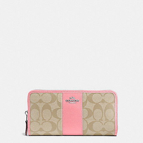 COACH f54630 ACCORDION ZIP WALLET IN SIGNATURE COATED CANVAS WITH LEATHER STRIPE SILVER/LIGHT KHAKI/BLUSH