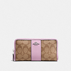 COACH F54630 Accordion Zip Wallet In Signature Canvas KHAKI/LILAC/SILVER