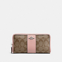 COACH F54630 Accordion Zip Wallet In Signature Canvas KHAKI/PETAL/SILVER
