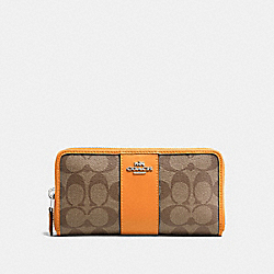 COACH F54630 Accordion Zip Wallet In Signature Canvas SILVER/KHAKI/TANGERINE