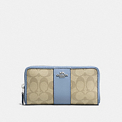 ACCORDION ZIP WALLET IN SIGNATURE CANVAS - f54630 - LIGHT KHAKI/POOL/SILVER