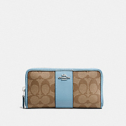 COACH F54630 Accordion Zip Wallet In Signature Canvas KHAKI/CORNFLOWER/SILVER