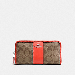 COACH F54630 Accordion Zip Wallet In Signature Coated Canvas With Leather Stripe SILVER/KHAKI