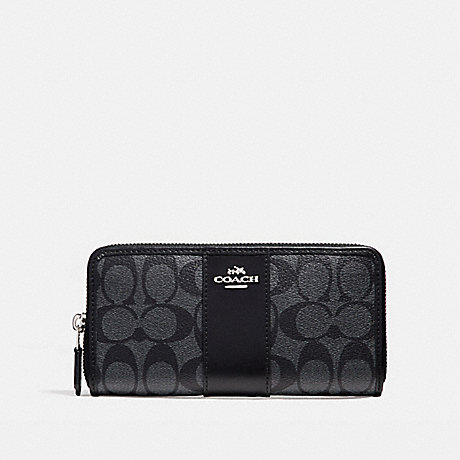 COACH f54630 ACCORDION ZIP WALLET IN SIGNATURE COATED CANVAS WITH LEATHER STRIPE SILVER/BLACK SMOKE