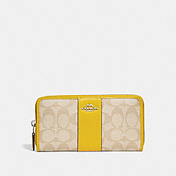 ACCORDION ZIP WALLET IN SIGNATURE CANVAS - f54630 - LIGHT KHAKI/CANARY/SILVER