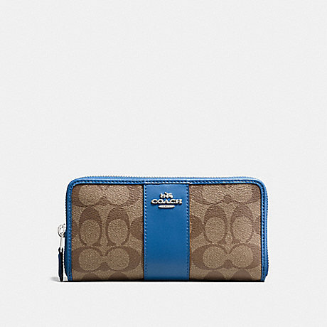 COACH f54630 ACCORDION ZIP WALLET IN SIGNATURE COATED CANVAS WITH LEATHER STRIPE SILVER/KHAKI LAPIS