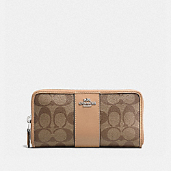 COACH F54630 - ACCORDION ZIP WALLET IN SIGNATURE CANVAS KHAKI/VANILLA/SILVER