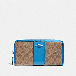 COACH F54630 - ACCORDION ZIP WALLET IN SIGNATURE CANVAS KHAKI/BRIGHT BLUE/SILVER