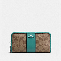 COACH F54630 - ACCORDION ZIP WALLET IN SIGNATURE CANVAS KHAKI/CYAN/SILVER