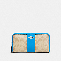 COACH F54630 - ACCORDION ZIP WALLET IN SIGNATURE CANVAS LIGHT KHAKI/BRIGHT BLUE/SILVER