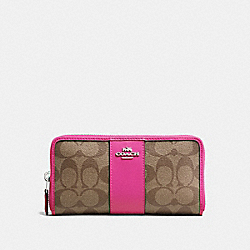 COACH F54630 Accordion Zip Wallet In Signature Canvas KHAKI/CERISE/SILVER