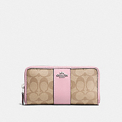 COACH F54630 Accordion Zip Wallet In Signature Canvas LIGHT KHAKI/CARNATION/SILVER