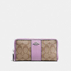 COACH F54630 - ACCORDION ZIP WALLET IN SIGNATURE CANVAS KHAKI/JASMINE/SILVER