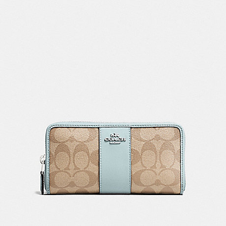 COACH F54630 ACCORDION ZIP WALLET IN SIGNATURE CANVAS LIGHT KHAKI/SEAFOAM/SILVER