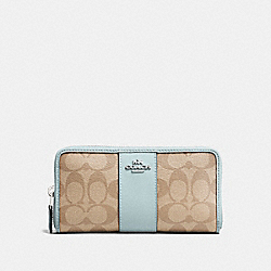 COACH F54630 - ACCORDION ZIP WALLET IN SIGNATURE CANVAS LIGHT KHAKI/SEAFOAM/SILVER