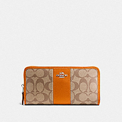 COACH F54630 Accordion Zip Wallet In Signature Canvas KHAKI/DARK ORANGE/SILVER
