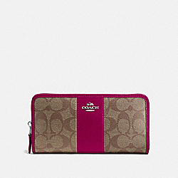 COACH F54630 - ACCORDION ZIP WALLET IN SIGNATURE CANVAS SV/KHAKI DARK FUCHSIA